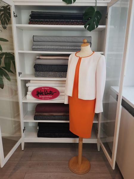 Jacke und Kleid in weiß orange Größe 38